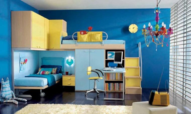 dormitorios juveniles azul cama ruedas-dos adolescentes ideas