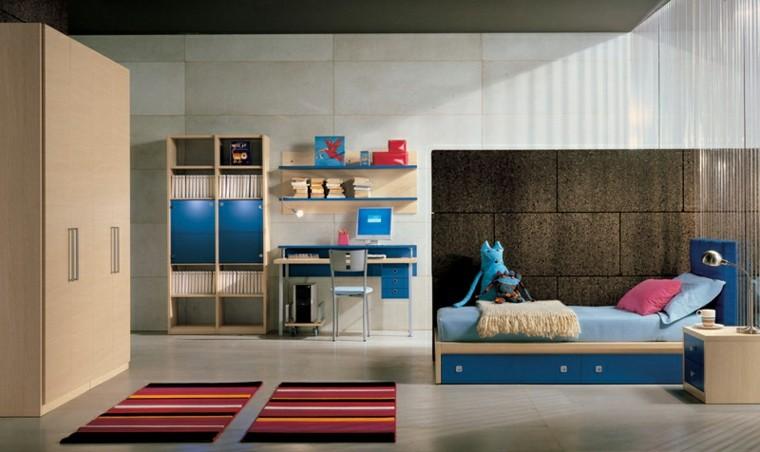 dormitorios juveniles azul chico escritorio ideas