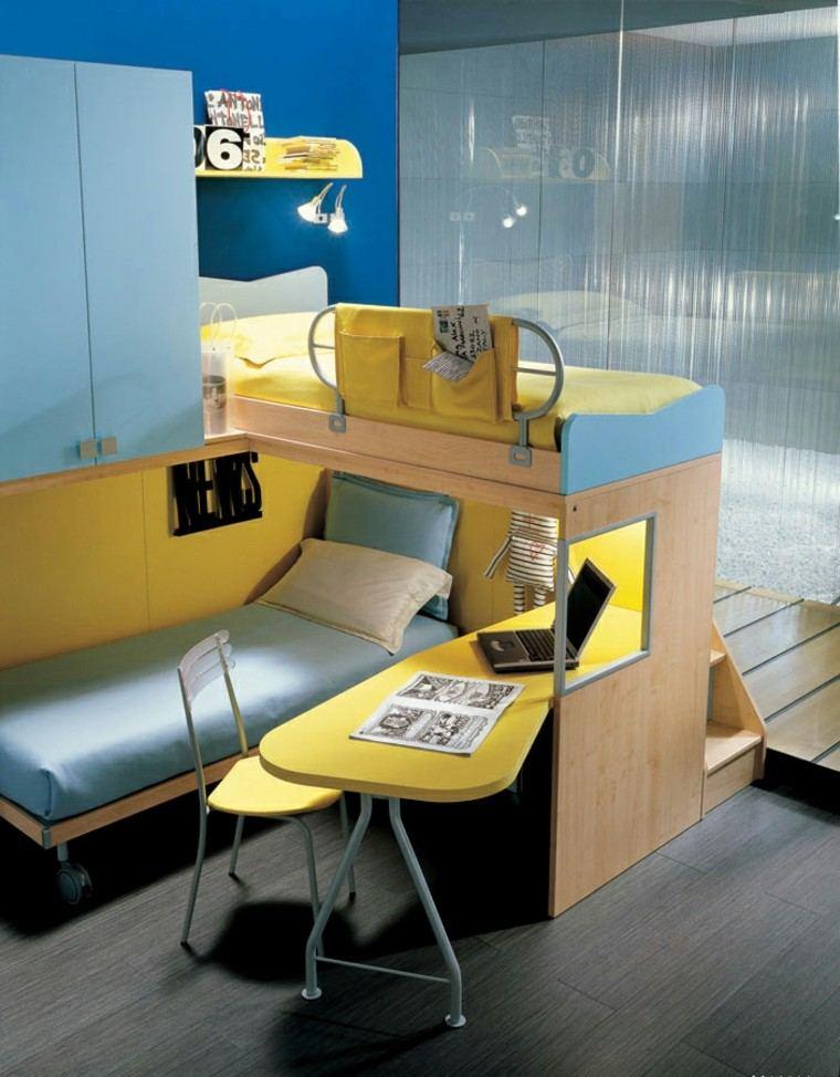 dormitorios adolescentes azul claro amarillo dos camas ideas