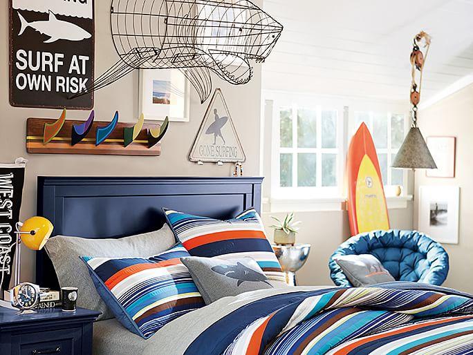 dormitorios juveniles cama armario madera azul ideas