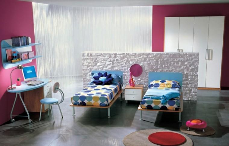 dormitorios juveniles chicas pared rosa escritorio azul ideas