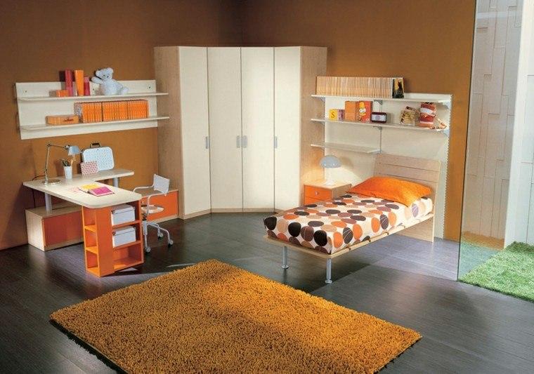 dormitorios juveniles color naranja muebles alfombra ideas