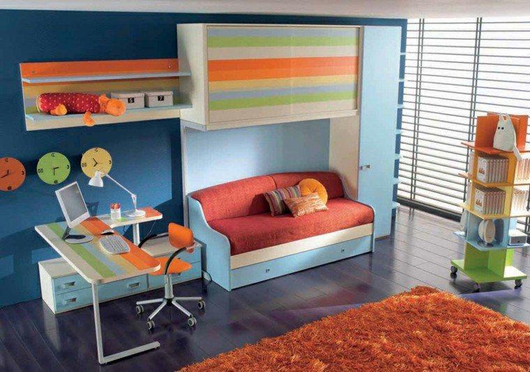 dormitorios juveniles colores vibrantes armario ideas