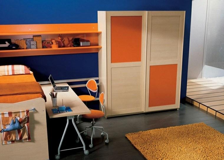 dormitorios juveniles combinacion naranja azul armario madera ideas