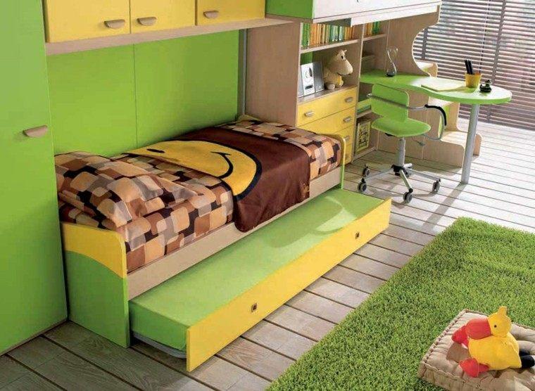 dormitorios juveniles dos camas armario verde amarillo ideas
