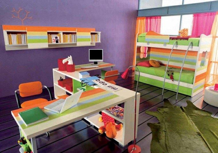 dormitorios juveniles dos camas colorido amplio ideas