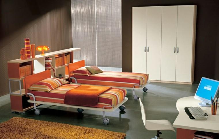 dormitorios juveniles dos camas narnja ruedas ideas