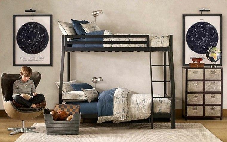 dormitorios juveniles dos chico camas acero negro ideas