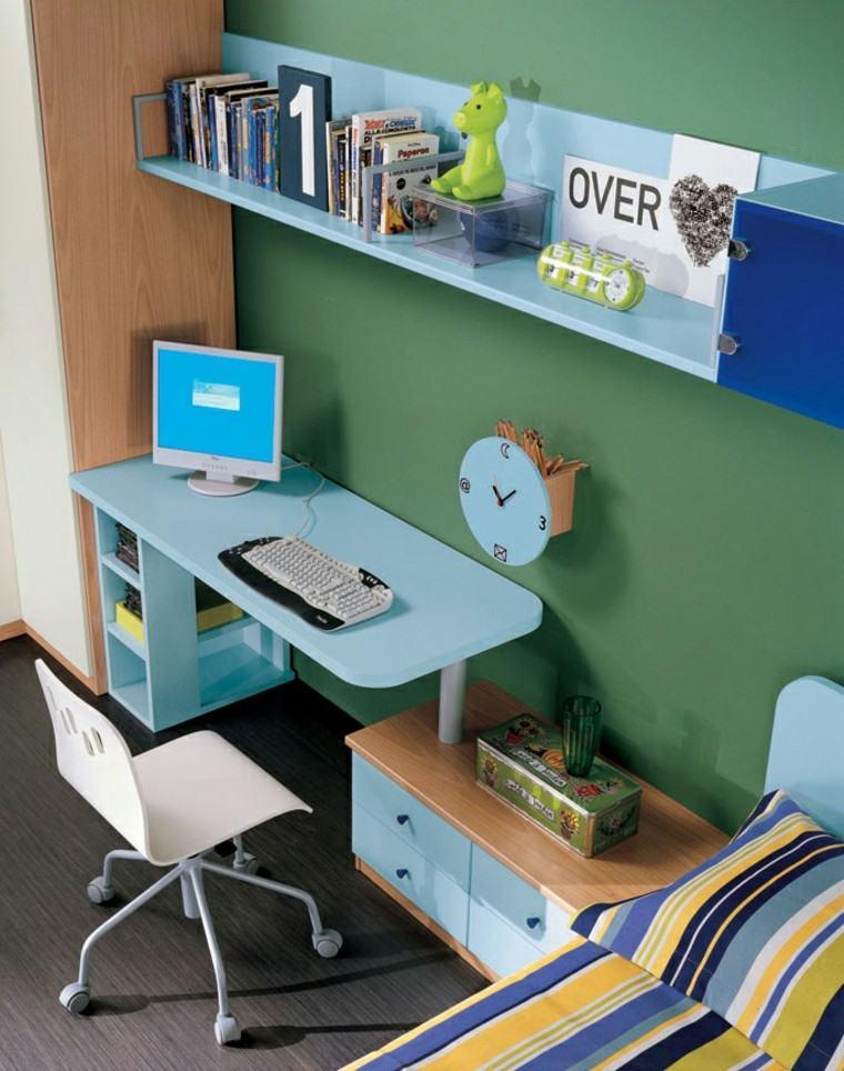 dormitorios juveniles escritorio azul estante libros ideas