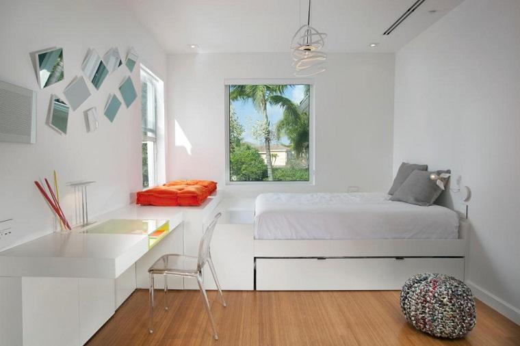 dormitorios juveniles estilo minimalista sutil blanco ideas