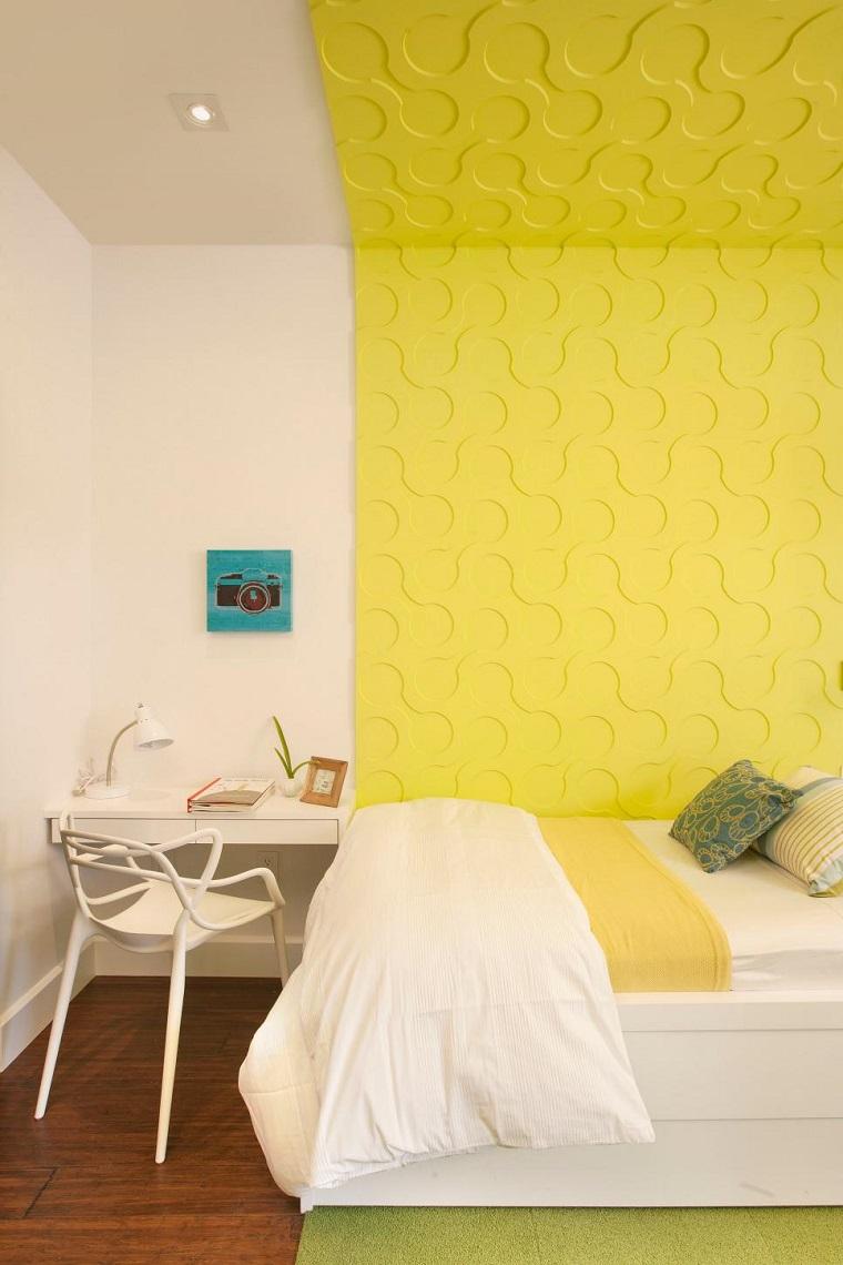 dormitorios juveniles estrecho pared amarilla blanca ideas