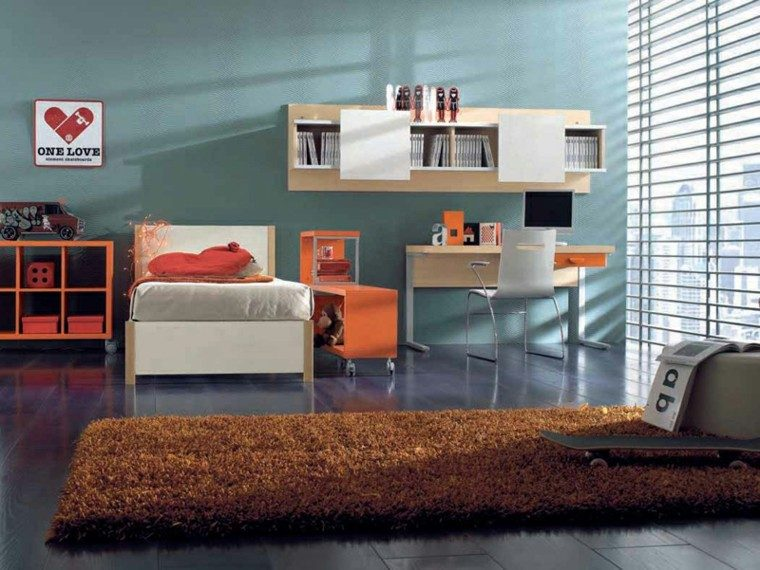 dormitorios juveniles luminoso ventanal estantes ideas