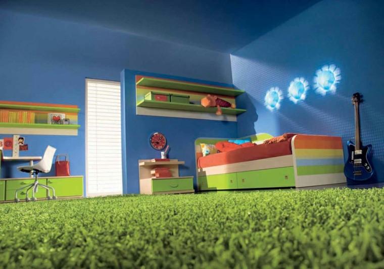 dormitorios juveniles pared azul alfombra verde ideas