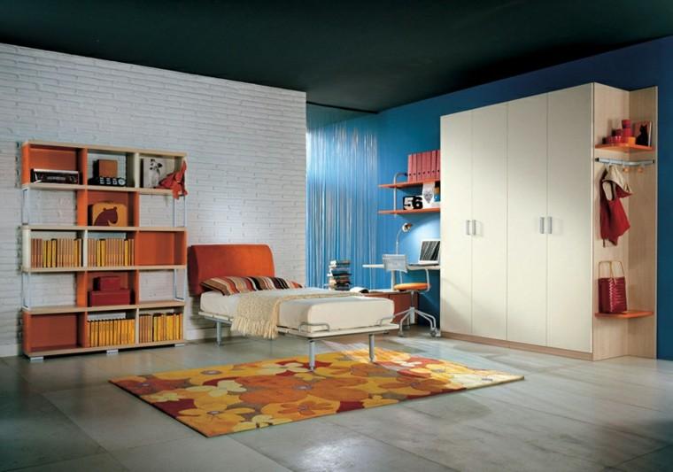 dormitorios juveniles pared baldosas blancas naranja ideas