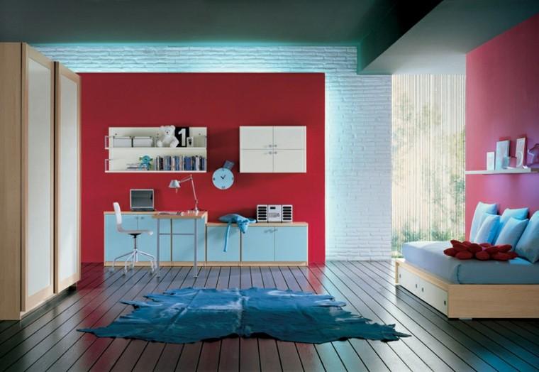 dormitorios juveniles pared rojo suelo madera ideas