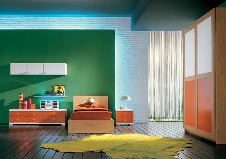 dormitorios juveniles pared verde armarios naranja ideas