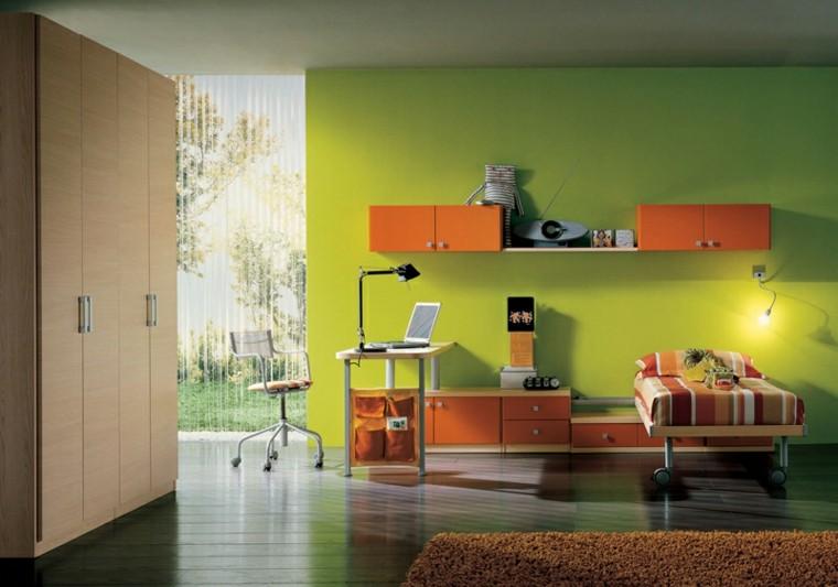 dormitorios juveniles pared verde claro colores vibrantes ideas