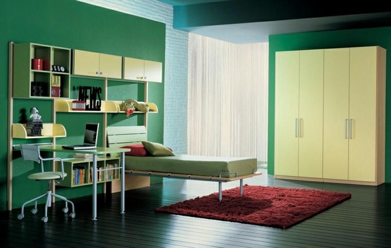 dormitorios juveniles paredes verdes suelo madera ideas