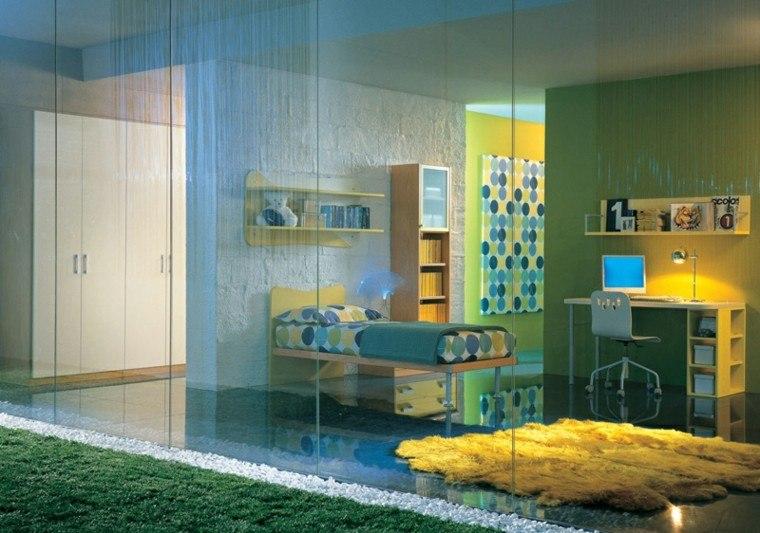 dormitorios juveniles puertas cristal colores vibrantes paredes ideas