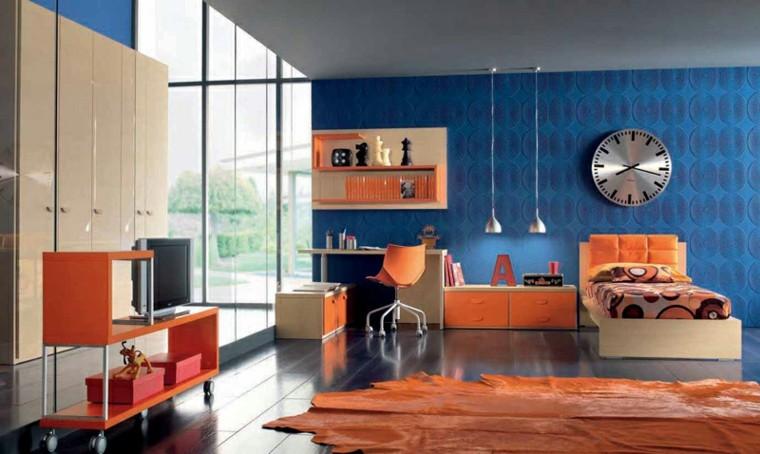 Dormitorios juveniles 100 ideas para tu adolescente - Blue and orange living room decor ...