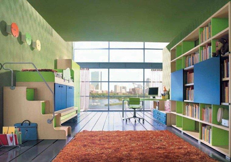 dormitorios juveniles verde amplio estanterias ideas