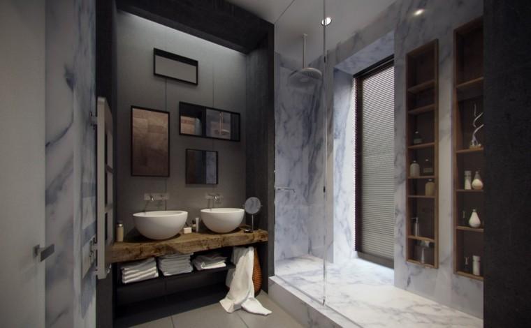 dos lavabos cuencos blancos baño