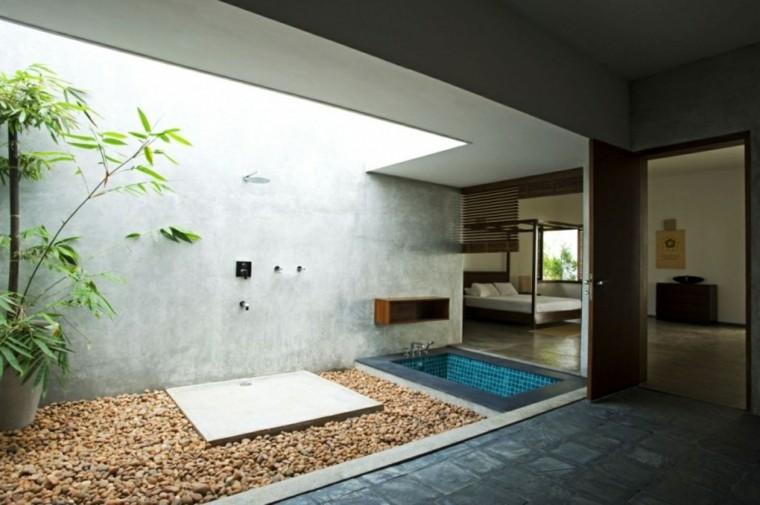 ducha moderna jardin zen interior