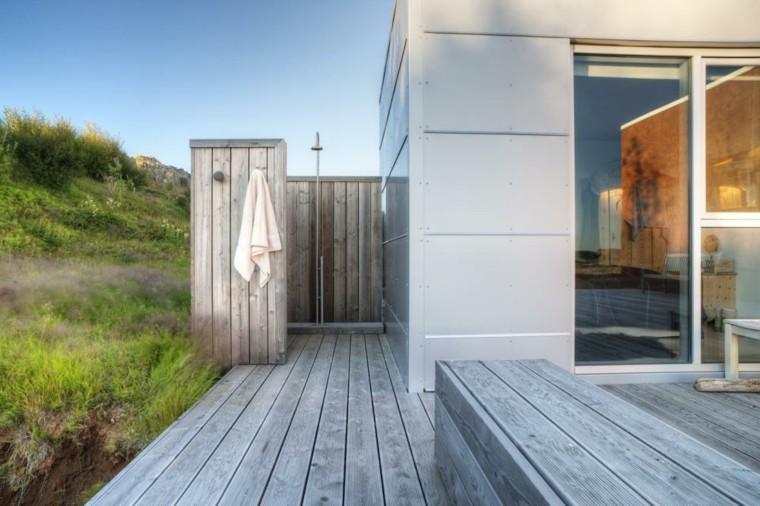ducha moderna madera teca gris