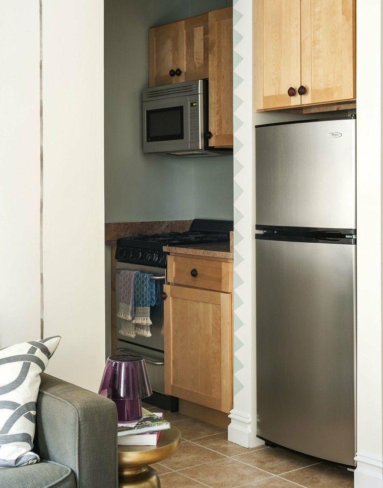 electrodomesticos acero armarios madera sofa gris ideas