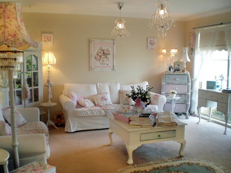 elegir shabby chic muebles salon madera blanca ideas