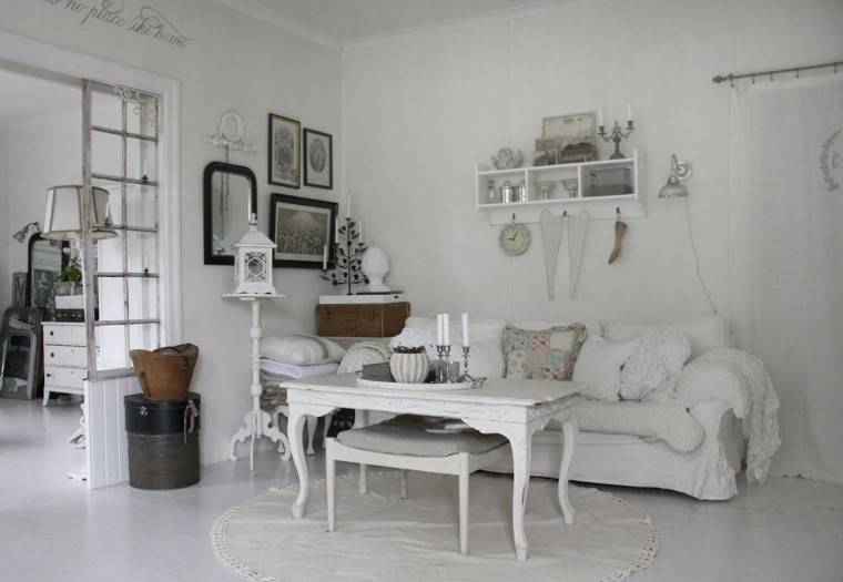elegir shabby chic salon estanteria cuadros blanco ideas