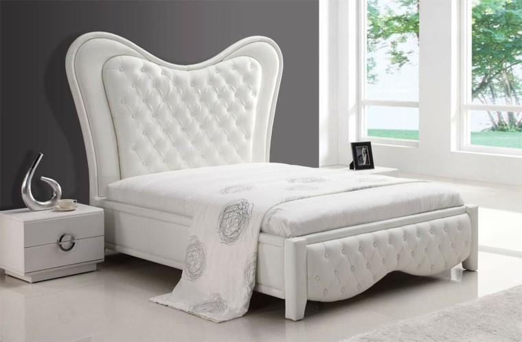 elementos blancos dormitorios modernos cabecero cama ideas