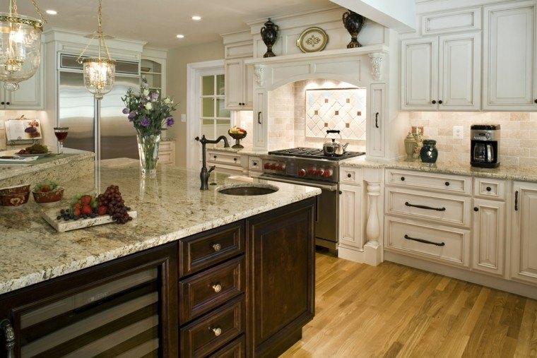 encimeras de cocina combinacion madera marmol moderna