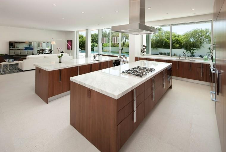 encimeras de cocina dos islas marmol moderna
