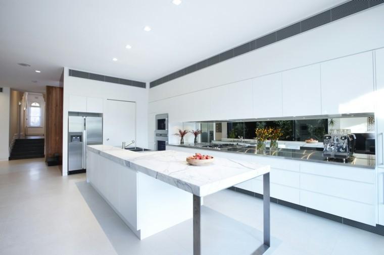 encimeras de cocina isla grande marmol blanco moderna