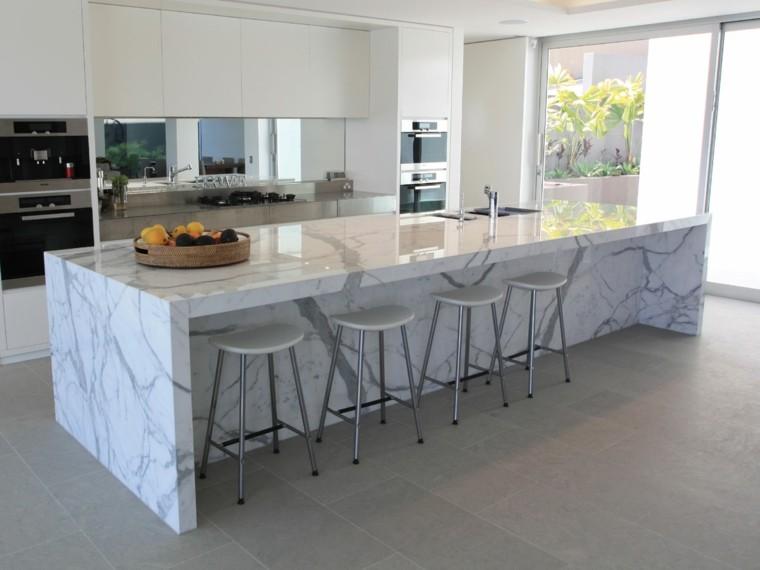encimeras de cocina isla grande marmol preciosa moderna - Encimera Marmol