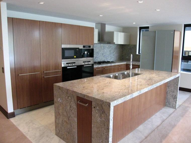 encimeras de cocina isla grande pared marmol ideas