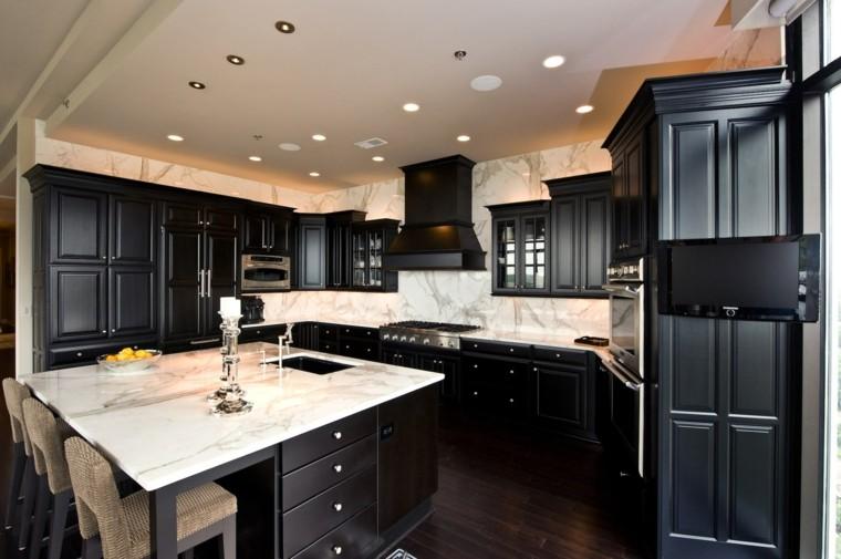 encimeras de cocina marmol muebles negros ideas elegante