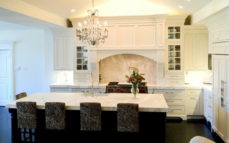 encimeras de cocina pared horno marmol ideas