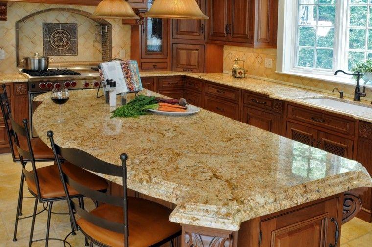 encimeras de cocina pequena isla marmol ideas