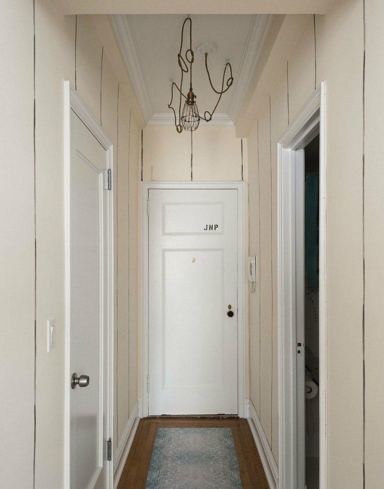 entrada pequena alfombra lampara ideas modernas