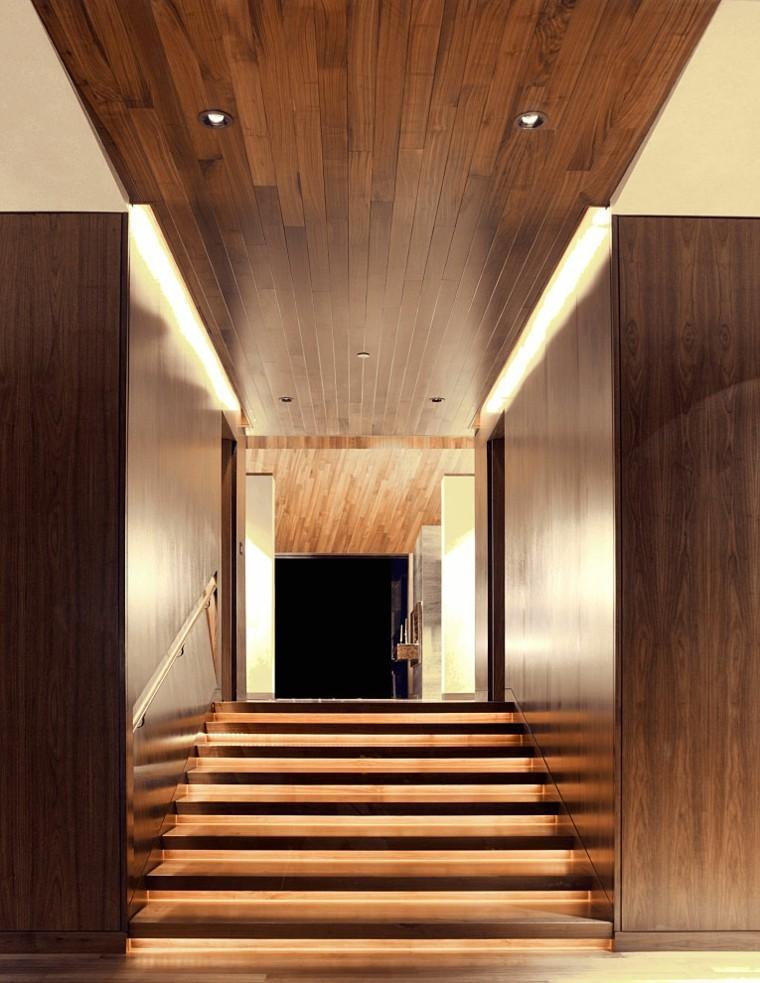 entrada recibidor diseño techo madera