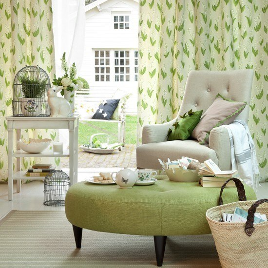 entretenimiento colores llamativos salon cortinas mueble verde ideas