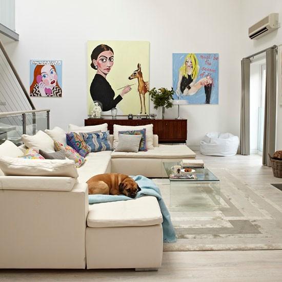 entretenimiento salon color beige pop art ideas modernas
