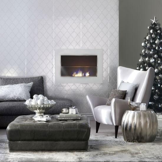 entretenimiento salon color plata brillante idea muebles pared moderno