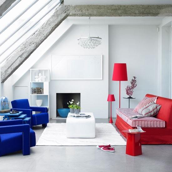 entretenimiento salon estilo minimalista rojo azul butacas sofa ideas