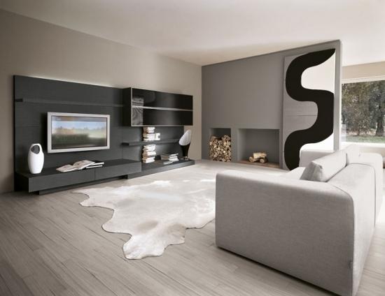 entretenimiento salon moderno amplio luminoso gris