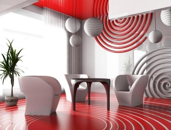 entretenimiento salon moderno rojo blanco ideas originales pared interesante