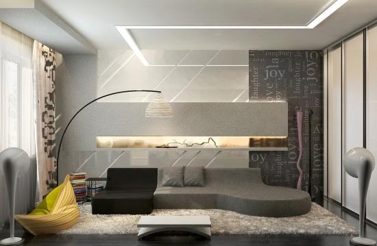 entretenimiento salon moderno sofa gris negro ideas