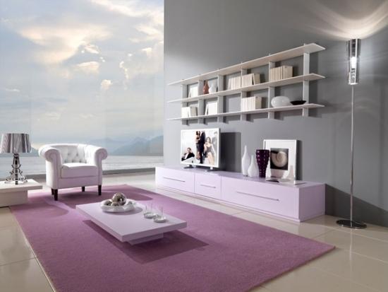 entretenimiento salon purpura moderno amplio ideas